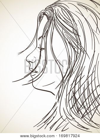 Sleepy face of young girl Vector sketch Hand drawn illustration