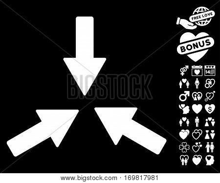 Collide 3 Arrows pictograph with bonus romantic design elements. Vector illustration style is flat rounded iconic white symbols on black background.