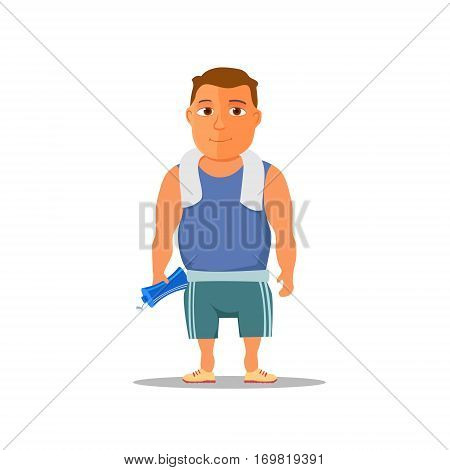 Cartoon guy after work out, with towel and water bottle. Vector Illustration