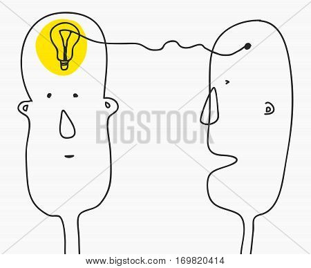 Idea concept.Finding solution, brainstorming, creative thinking, light bulb symbol.Modern Doodle line style sketch.Two cartoon man formed idea.Vector illustration isolated on white background.