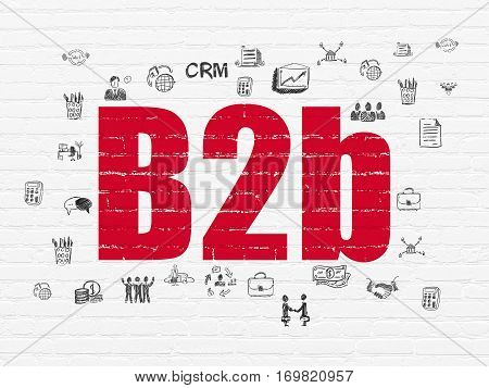 Business concept: Painted red text B2b on White Brick wall background with  Hand Drawn Business Icons