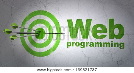 Success web design concept: arrows hitting the center of target, Green Web Programming on wall background, 3D rendering
