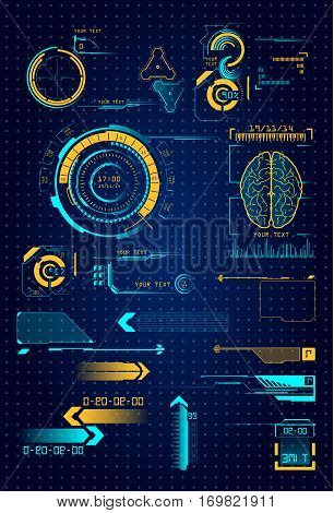 Set of different interface elements. The futuristic user interface HUD and infographics elements. Abstract virtual graphical touch-screen user interface. UI HUD Infographic monitor screen interface set of web elements Radar