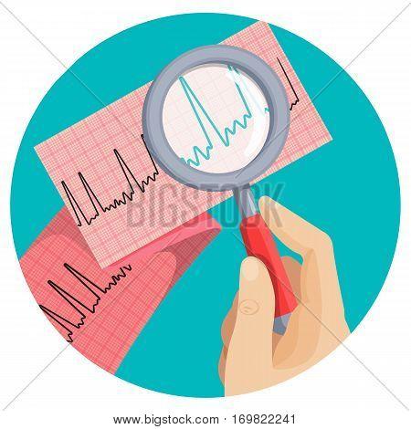 Look on atrial fibrillation through magnifying glass that human hand holds in round vector picture on white. Long piece of paper with ECG scheme of improper heart working, emergency cardiology.