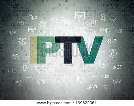 Web development concept: Painted multicolor text IPTV on Digital Data Paper background with  Hand Drawn Site Development Icons
