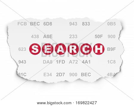 Web development concept: Painted red text Search on Torn Paper background with  Hexadecimal Code