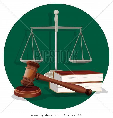 Judge wooden gavel, grey scale and two books on round green label on white. Traditional elements in flat style in court for judge and lawyer. Vector collection of thing for making right sentence
