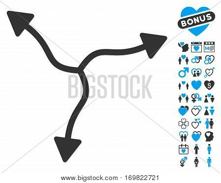 Curve Arrows pictograph with bonus dating pictograph collection. Vector illustration style is flat rounded iconic blue and gray symbols on white background.