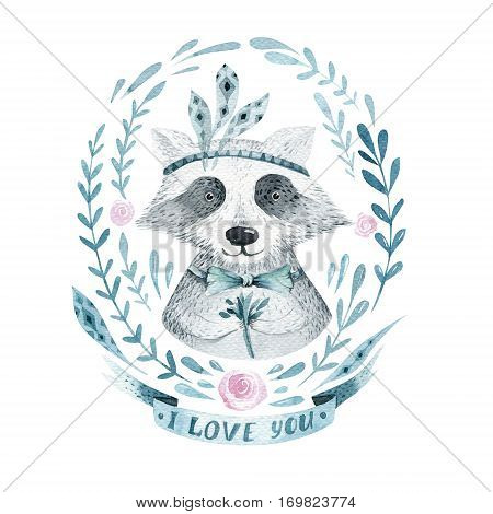 Watercolor boho floral wreath with raccoon. Watercolour bohemian natural frame: leaves, feathers, flowers,  Isolated on white background. Artistic decoration illustration. Save the date, weddign design, valentine's day