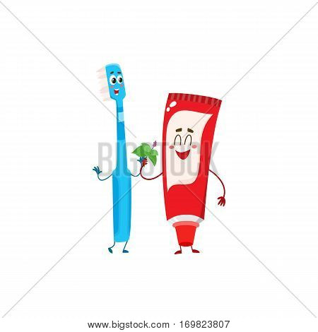 Funny toothpaste and toothbrush character, dental care concept, cartoon vector illustration isolated on white background. Toothpaste, toothbrush characters, teeth health, dental care, good habits