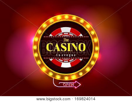 casino sign on colorful light background vector