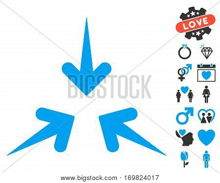 Impact Arrows pictograph with bonus romantic graphic icons. Vector illustration style is flat rounded iconic blue and gray symbols on white background.