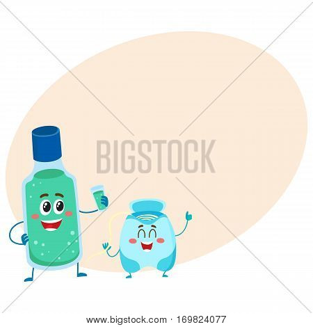 Funny dental floss and mouthwash, mouth rinse character, teeth care concept, cartoon vector illustration with place for text. Dental floss and mouthwash characters, cleen teeth concepts