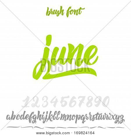 Font drawn on the basis of handwriting calligraphy, modern cursive script brush. Hand Lettering June