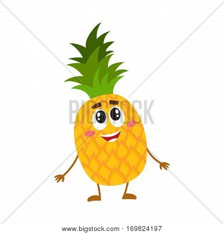 Funny pineapple character standing and looking up, cartoon vector illustration isolated on white background. Funny pineapple character, mascot standing and looking at something above