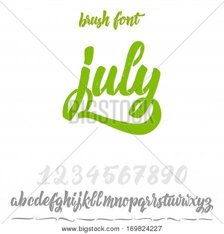 Font drawn on the basis of handwriting calligraphy, modern cursive script brush. Hand Lettering July