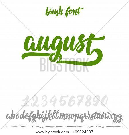 Font drawn on the basis of handwriting calligraphy, modern cursive script brush. Hand Lettering August