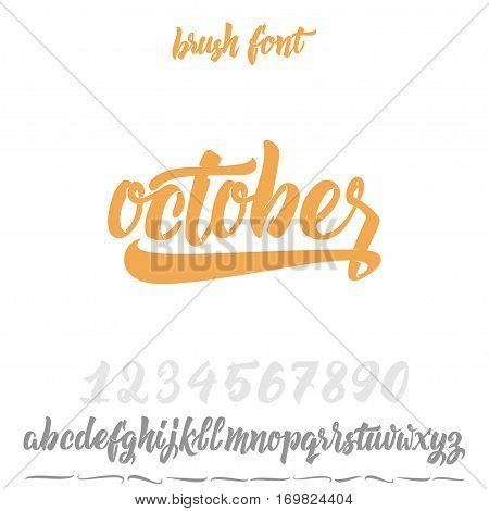 Font drawn on the basis of handwriting calligraphy, modern cursive script brush. Hand Lettering October