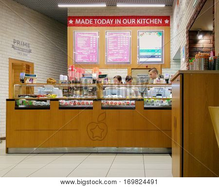 Moscow Russia - February 09 2017: Interior of a modern fast food cafe in the city center. PRIME cafe new russian brand of fast food in fast casual segment offers healthy natural food.