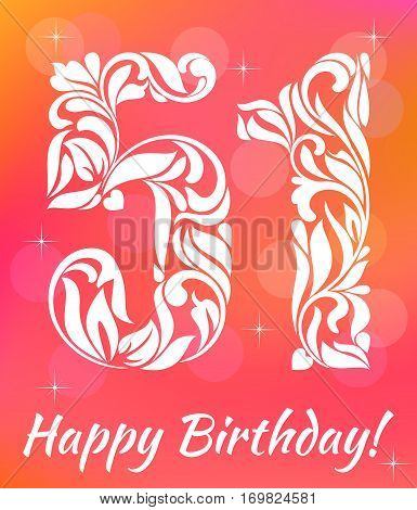 Bright Greeting Card Template. Celebrating 51 Years Birthday. De