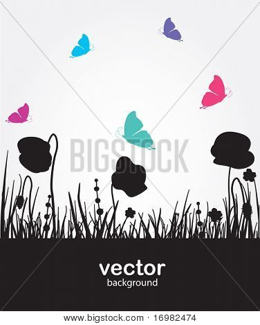 Rainbow butterfly. Vector background