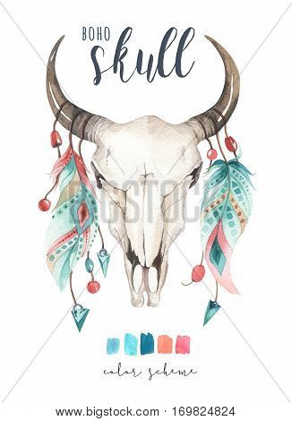 Watercolor bohemian cow skul and featherl.  Western mammals. Watercolour hipster deer boho decoration print antlers. flowers, feathers. Isolated on white background. Boho style.  Hand drawn ethnic themed design.