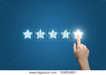 Businesswoman pointing five star to increase concept design illustration banner