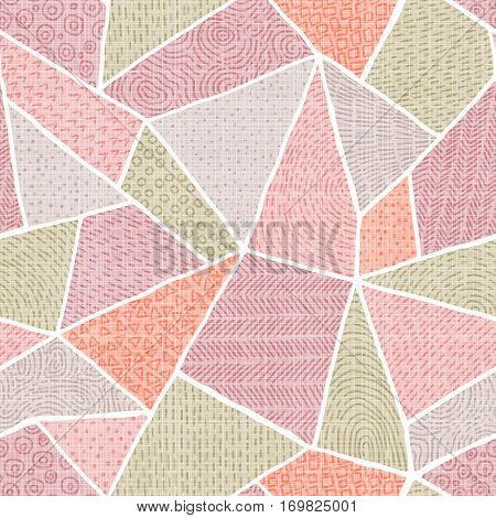 Seamless pattern of patchwork. Vintage pastel background. Coral lilac gray and olive colors. Grungy texture. Vector illustration.