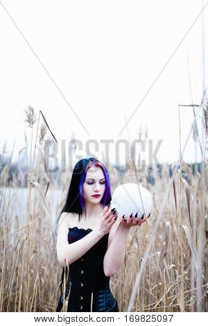 Portrait of the gothic woman with the skull in a high, dry grass