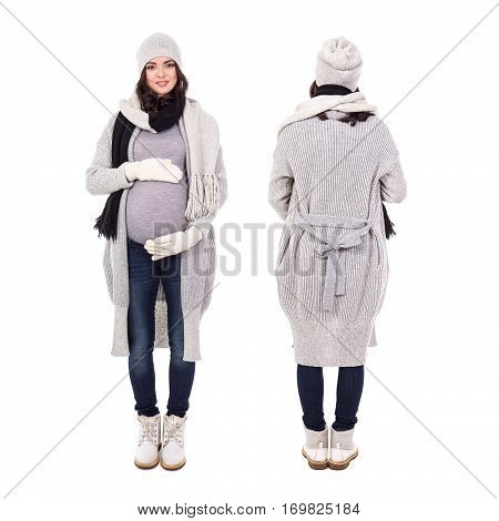 Full Length Front And Back View Of Young Pregnant Woman In Winter Clothes Isolated On White