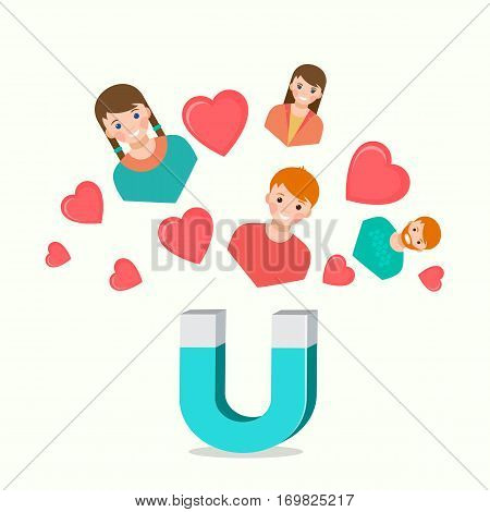 Blue-white magnet attracting love hearts boys and girls on light background. Abstract concept for love at first sight and mutual love. Vector illustration of romantic feelings. Valentines day