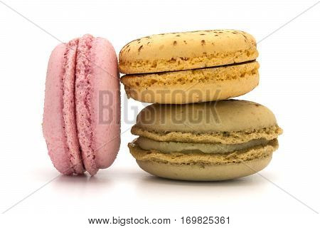 Three macaroons taken with a white background