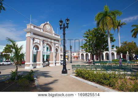 Cienfuegos Cuba - January 28 2017: The Arch of Triumph in Jose Marti Park Cienfuegos (UNESCO World Heritage) Cuba. Cienfuegos capital of Cienfuegos Province is a city on the southern coast of Cuba.The city is dubbed La Perla del Sur