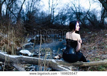 Portrait of the gothic woman near the cold creek