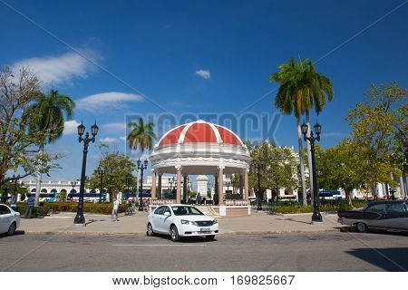 Cienfuegos Cuba - January 28 2017: Jose Marti Park the main square of Cienfuegos (UNESCO World Heritage) Cuba. Cienfuegos capital of Cienfuegos Province is a city on the southern coast of Cuba.The city is dubbed La Perla del Sur