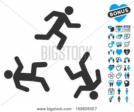 Running Men pictograph with bonus love symbols. Vector illustration style is flat rounded iconic blue and gray symbols on white background.