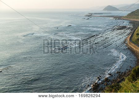 Aoshima Island coast with washboard of demon