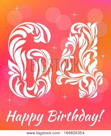 Bright Greeting Card Template. Celebrating 64 Years Birthday. De