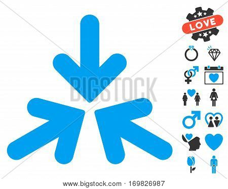 Triple Collide Arrows icon with bonus decoration design elements. Vector illustration style is flat rounded iconic blue and gray symbols on white background.