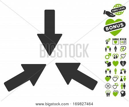 Collide 3 Arrows pictograph with bonus marriage pictures. Vector illustration style is flat rounded iconic eco green and gray symbols on white background.