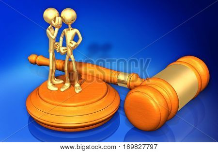 Law Legal Concept With The Original 3D Characters Illustration Hearsay