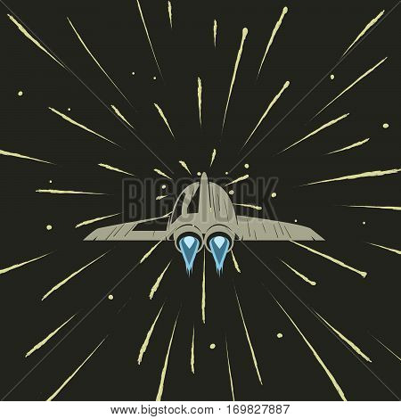spaceship travel with speed of light.Cosmic adventure.Cartoon vector illustration