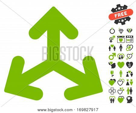 Direction Variants icon with bonus dating graphic icons. Vector illustration style is flat rounded iconic eco green and gray symbols on white background.
