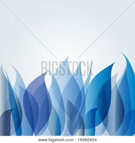 Blue background with abstract plants. Vector format