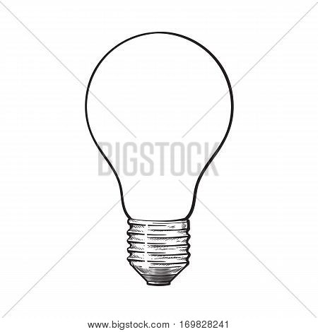 Matted, opaque tungsten light bulb, side view, sketch style vector illustration isolated on white background. hand drawing of matted, opaque, nontransparent tungsten light bulb