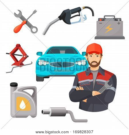 Car service set. Worker near expensive car and working tools around isolated. Adjustable jack, battery, canister of gasoline, exhaust pipes, wrench screwdriver, petrol handle vector illustration