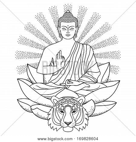 Sitting Buddha on Lotus with beam of light and tiger head isolated on white background. Sign for tattoo, textile print, mascots and amulets. Coloring page.