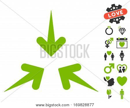 Impact Arrows pictograph with bonus decoration pictograph collection. Vector illustration style is flat rounded iconic eco green and gray symbols on white background.
