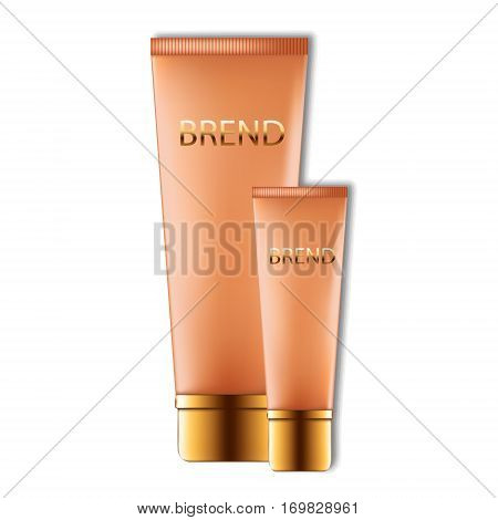 Realistic set of cosmetic cream or concealer on a white background
