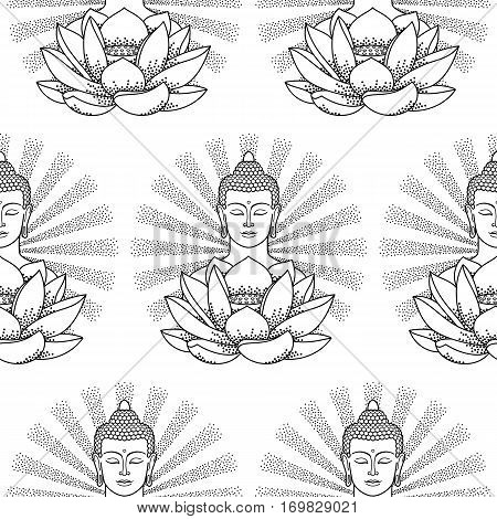 Seamless pattern of Buddha and Lotus with beam of light isolated on white background. Black and white wallpaper, textile coloring page.